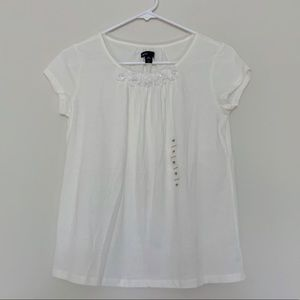 Gap Kids White Short Sleeve Ruffle and Jewels Top